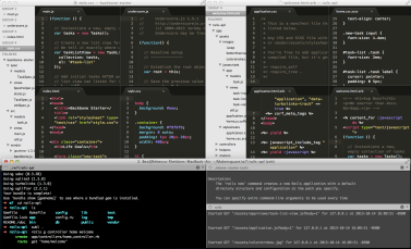 Backbone compared to Rails in sublime + Terminal running the code & rails server in the bottom half.